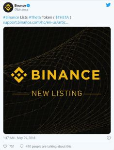 binance and theta